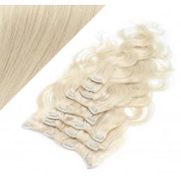 50cm clip in vlnité vlasy evropského typu REMY - platina