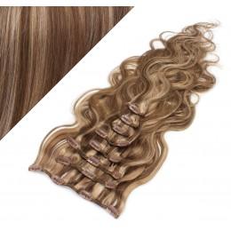 50cm clip in vlnité vlasy evropského typu REMY - tmavý melír