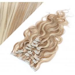 50cm clip in vlnité vlasy evropského typu REMY - světlý melír