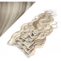 50cm clip in vlnité vlasy evropského typu REMY - platina / světle hnědá