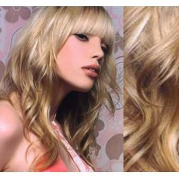 "20"" (50cm) Clip in wavy human REMY hair - platinum/light brown"
