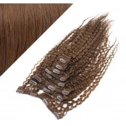 50cm clip in kudrnaté vlasy evropského typu REMY - středně hnědá