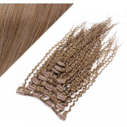 50cm clip in kudrnaté vlasy evropského typu REMY - světle hnědá