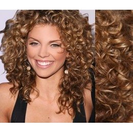"20"" (50cm) Clip in curly human REMY hair - light brown"