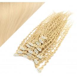 50cm clip in kudrnaté vlasy evropského typu REMY - nejsvětlejší blond