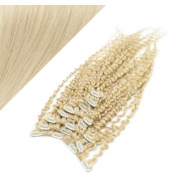 50cm clip in kudrnaté vlasy evropského typu REMY - platina