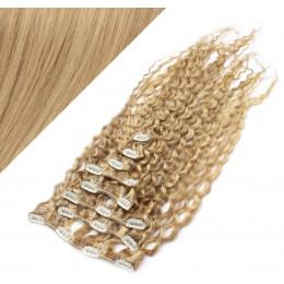 50cm clip in kudrnaté vlasy evropského typu REMY - přírodní / světlejší blond