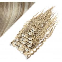 50cm clip in kudrnaté vlasy evropského typu REMY - platina / světle hnědá