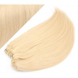 40cm DELUXE clip in sada - nejsvětlejší blond