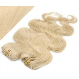 50cm DELUXE vlnitá clip in sada - nejsvětlejší blond