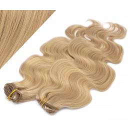 50cm DELUXE vlnitá clip in sada - přírodní / světlejší blond