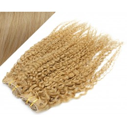 50cm DELUXE kudrnatá clip in sada - přírodní blond