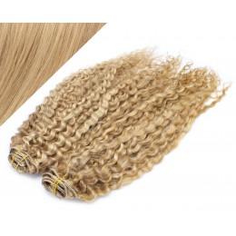50cm DELUXE kudrnatá clip in sada - přírodní / světlejší blond