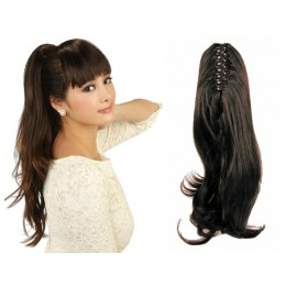 "Claw ponytail 24"" wavy - dark brown"