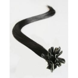 "16"" (40cm) Nail tip / U tip human hair pre bonded extensions – natural black"