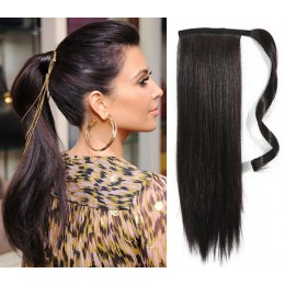 """Clip in ponytail wrap / braid hair extension 24"""" straight - natural black"""