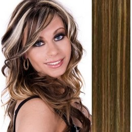 "15"" (40cm) Clip in human REMY hair - dark brown/blonde"