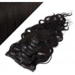 50cm clip in vlnité vlasy evropského typu REMY - přírodní černá