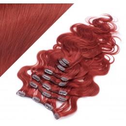 50cm clip in vlnité vlasy evropského typu REMY - měděná
