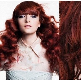 """20"""" (50cm) Clip in wavy human REMY hair - copper red"""