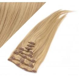 40cm clip in lidské REMY vlasy evropského typu - přírodní / světlejší blond