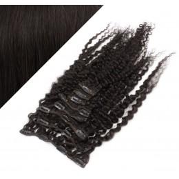50cm clip in kudrnaté vlasy evropského typu REMY - přírodní černá
