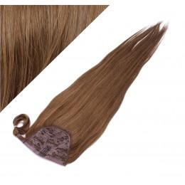 50 cm culík / cop z lidských vlasů rovný - středně hnědá