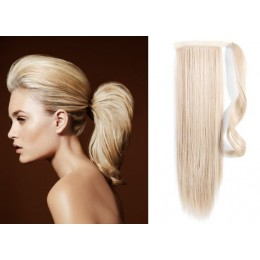 "Clip in human hair ponytail wrap hair extension 20"" straight - platinum blonde"