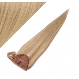 50 cm culík / cop z lidských vlasů rovný - přírodní / světlejší blond
