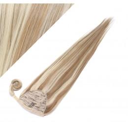 50 cm culík / cop z lidských vlasů rovný - světlý melír