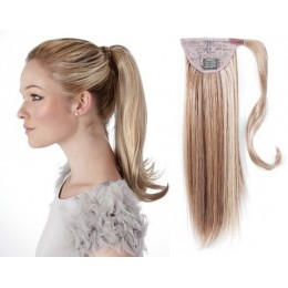 50 cm culík / cop z lidských vlasů rovný - platina / světle hnědá