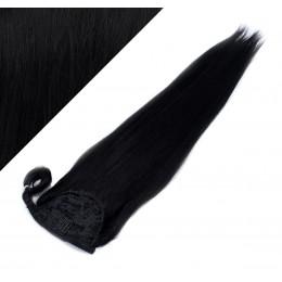 60 cm culík / cop z lidských vlasů rovný - černá