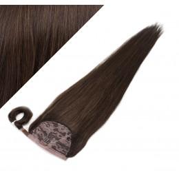 60 cm culík / cop z lidských vlasů rovný - tmavě hnědá
