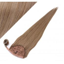 60 cm culík / cop z lidských vlasů rovný - světle hnědá