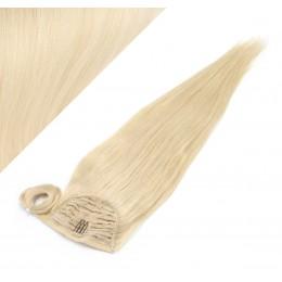 60 cm culík / cop z lidských vlasů rovný - nejsvětlejší blond