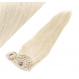 60 cm culík / cop z lidských vlasů rovný - platina