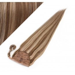 60 cm culík / cop z lidských vlasů rovný - tmavý melír