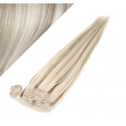 60 cm culík / cop z lidských vlasů rovný - platina / světle hnědá