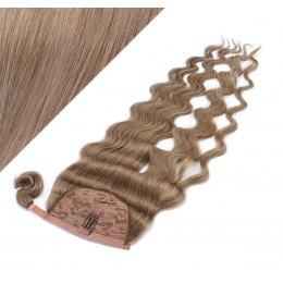 50 cm culík / cop z lidských vlasů vlnitý - světle hnědá