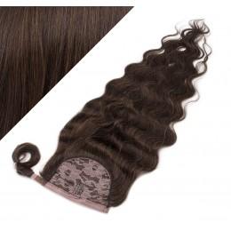 60 cm culík / cop z lidských vlasů vlnitý - tmavě hnědá