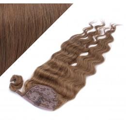 60 cm culík / cop z lidských vlasů vlnitý - středně hnědá