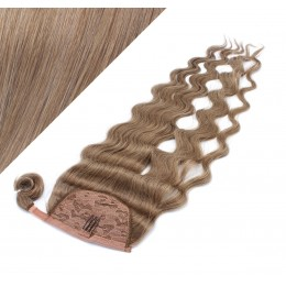 60 cm culík / cop z lidských vlasů vlnitý - světle hnědá