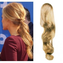 "Clip in human hair ponytail wrap hair extension 24"" wavy - natural blonde"