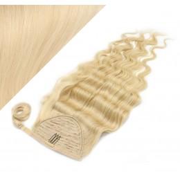 60 cm culík / cop z lidských vlasů vlnitý - nejsvětlejší blond