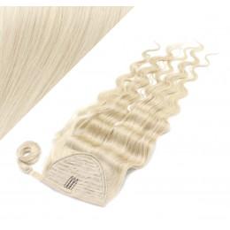60 cm culík / cop z lidských vlasů vlnitý - platina
