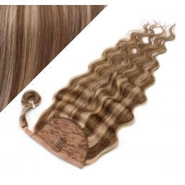 60 cm culík / cop z lidských vlasů vlnitý - tmavý melír