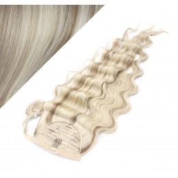 60 cm culík / cop z lidských vlasů vlnitý - platina / světle hnědá