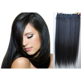 16 inches one piece full head 5 clips clip in hair weft extensions straight – black