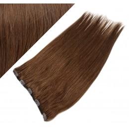 Clip vlasový pás remy 43cm rovný – středně hnědá