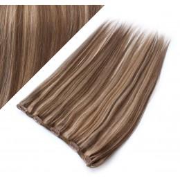 Clip vlasový pás remy 43cm rovný – tmavý melír